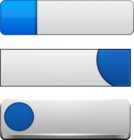 Set of blank blue buttons for website or app.