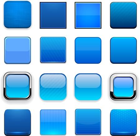Illustration pour Set of blank blue square buttons for website or app. Vector eps10.  - image libre de droit