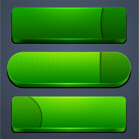 Set of blank green buttons for website or app