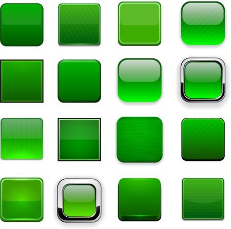 Illustration pour Set of blank square green buttons for website or app   - image libre de droit