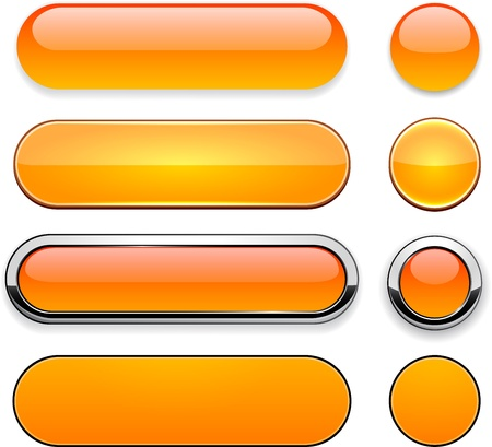 Set of blank orange buttons for website or app