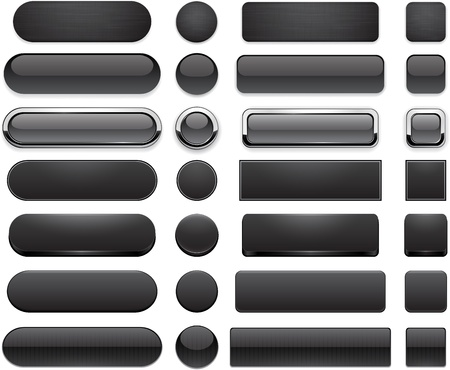 Set of blank black buttons for website or app. Vector eps10.