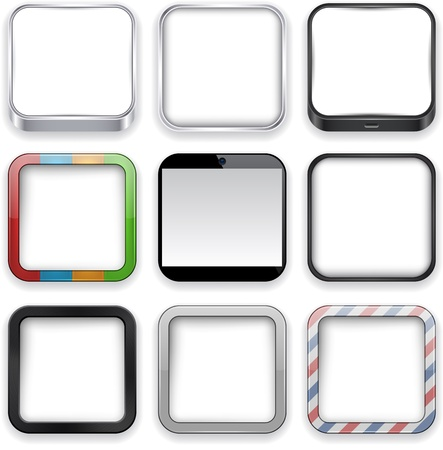 Vector illustration of blank high-detailed apps icon set.