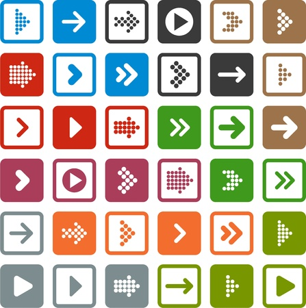 Vector illustration of plain square arrow icons. Eps10.