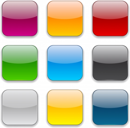 Set of blank colorful square buttons for website or app.
