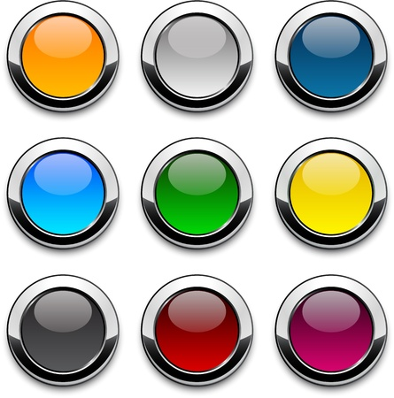 Set of blank colorful round buttons for website or app.