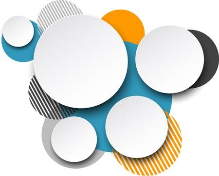 Illustration pour Vector illustration of white paper round speech bubbles over colorful background.    - image libre de droit