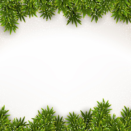 Detailed frame with fir. Christmas background. Vector illustration. のイラスト素材