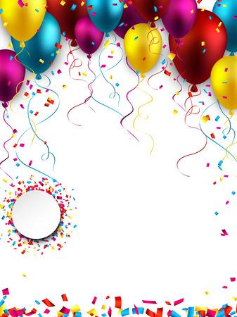 Ilustración de Celebration colorful background with balloons and confetti.  - Imagen libre de derechos