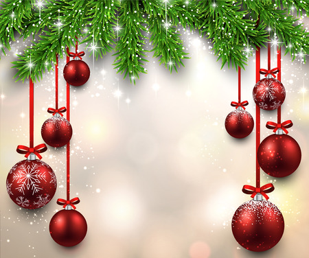Illustration pour Christmas illustration with fir twigs and red balls. Vector background. - image libre de droit