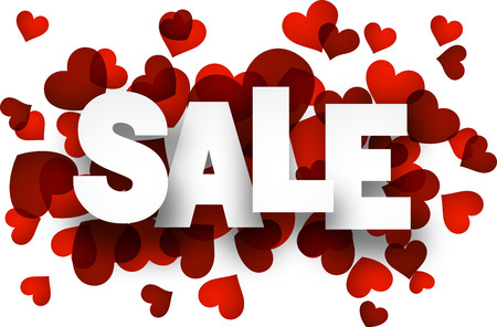 Illustration pour White sale sign over red hearts background. Vector holiday illustration. - image libre de droit