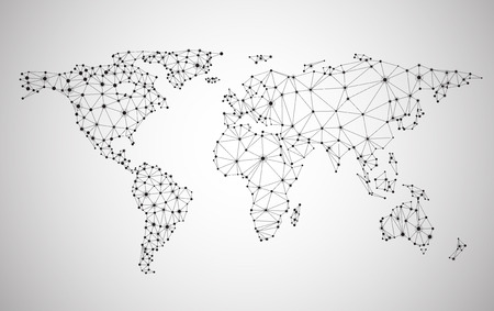 Global network mesh. Social communications background. Earth map. Vector illustration.のイラスト素材