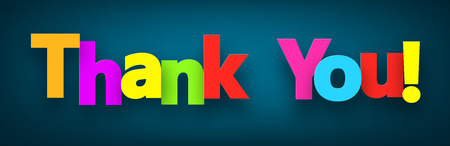 Colorful thank you sign over dark blue background. Vector illustration.