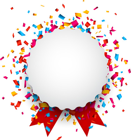 Colorful confetti celebration background. Paper round speech bubble with red ribbons.