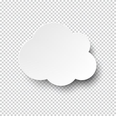Illustration pour illustration of white blank paper cloud speech bubble with shadow. - image libre de droit