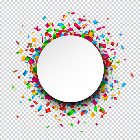 Colorful celebration background. Paper round speech bubble with confetti.