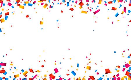 Ilustración de Colorful celebration frame background with confetti. Vector background. - Imagen libre de derechos