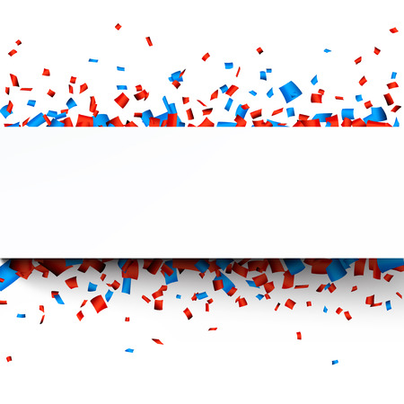 Paper celebration banner over red and blue confetti. Vector background.