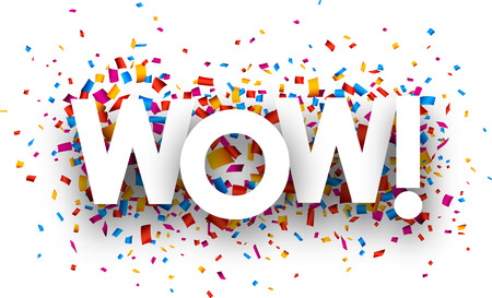 Wow sign with colour confetti. Vector paper illustration.