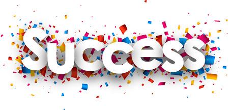 Success with colour confetti. Vector paper illustration.