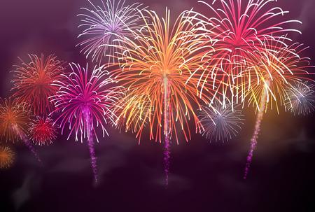 Illustration pour Festive colour firework background. Vector illustration. - image libre de droit