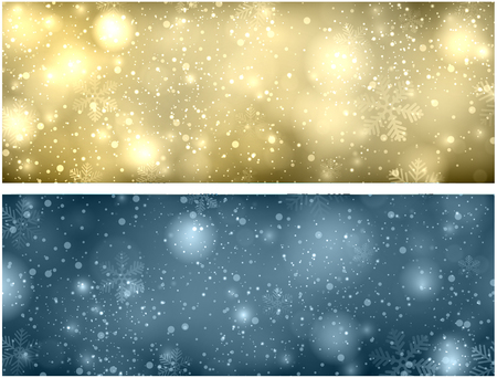 Christmas blurred background with snowflakes and lights. Vector Illustration.