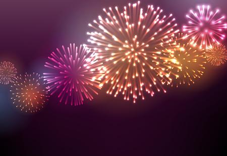 Illustration pour Festive colour firework background - image libre de droit