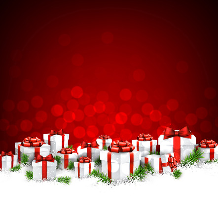 Christmas red background with gifts.