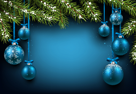 Christmas blue background with fir branches and balls.