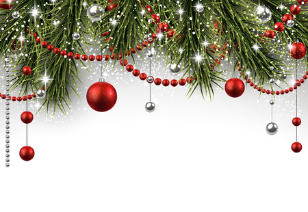 Illustration pour Christmas background with fir branches and balls. - image libre de droit