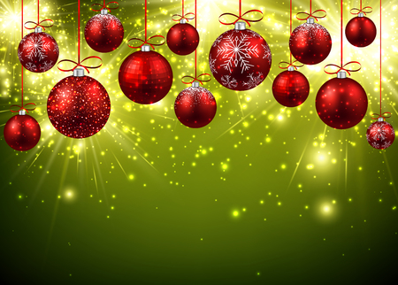 Illustration pour New Year background with red balls. - image libre de droit