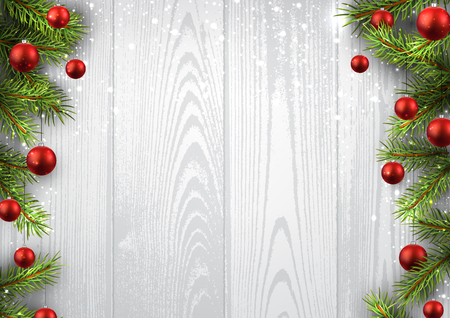 Illustration for Christmas wooden background with fir branches and balls. - Royalty Free Image