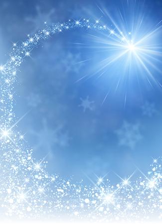 Ilustración de Blue winter background with petard. Vector paper illustration. - Imagen libre de derechos