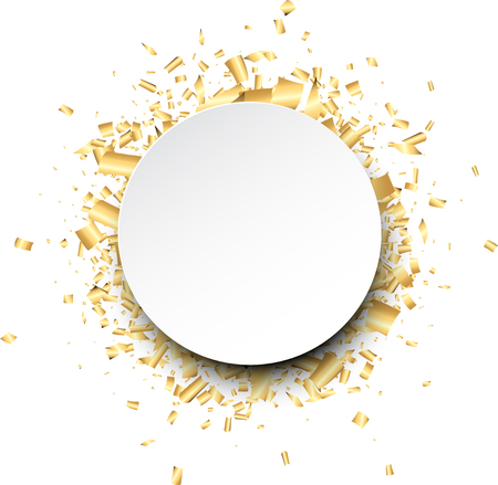 Illustration pour White round background with golden confetti. Vector illustration. - image libre de droit