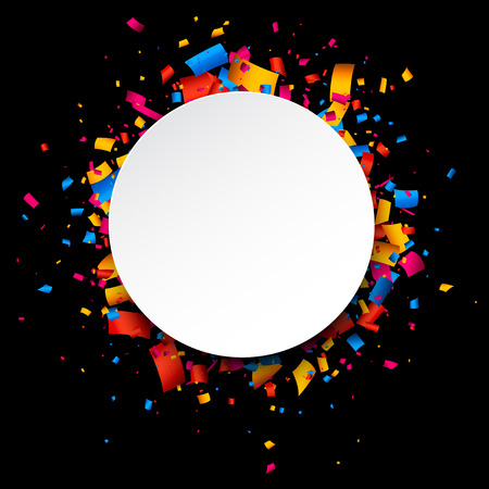 Black festive background with color confetti. Vector illustration.