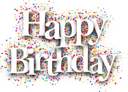 Ilustración de Happy birthday card with color drops. Vector illustration. - Imagen libre de derechos