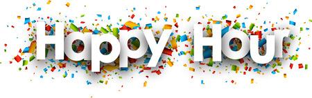 Ilustración de Happy hour paper banner with color confetti. Vector illustration. - Imagen libre de derechos
