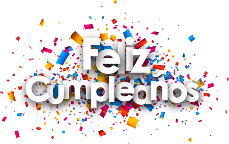 Illustration for Happy birthday paper card with color confetti, Spanish. Vector illustration. - Royalty Free Image
