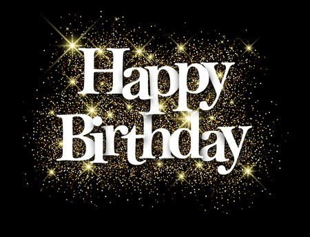 Illustration for Happy birthday black background with shining sand. Vector paper illustration. - Royalty Free Image
