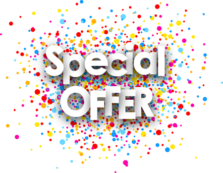 White special offer paper card with color drops. Vector illustration.