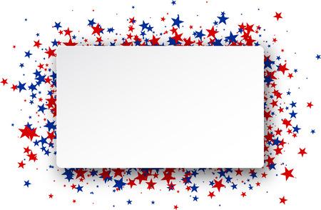 Ilustración de Background with red and blue stars. Vector paper illustration. - Imagen libre de derechos