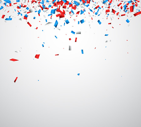 Illustration for Background with red, white, blue confetti. Vector illustration. - Royalty Free Image