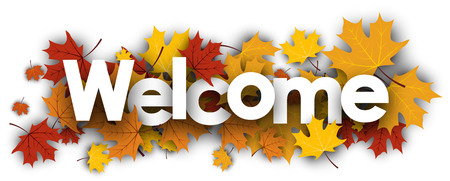 Illustration for Welcome autumn banner with golden maple leaves. Vector illustration. - Royalty Free Image