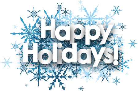 Illustration pour White happy holidays background with blue snowflakes. - image libre de droit