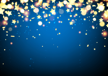 Blue festive background with confetti and yellow stars. Vector illustration.