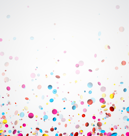 Illustration for Festive white banner with colorful glossy confetti. Vector illustration. - Royalty Free Image
