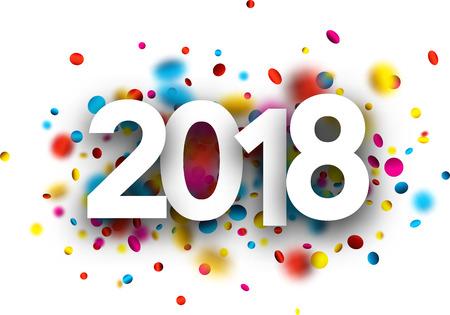 Ilustración de 2018 new year background with colorful confetti. Vector paper illustration. - Imagen libre de derechos