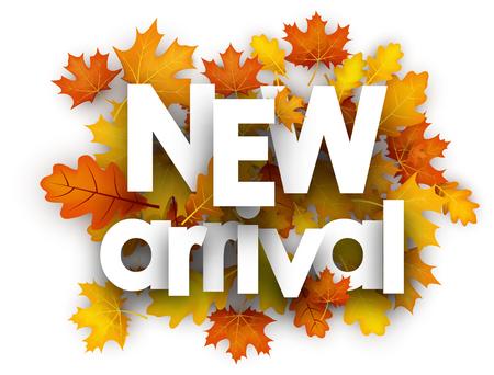 Illustration pour New arrival autumn card with golden maple and oak leaves. Vector illustration. - image libre de droit
