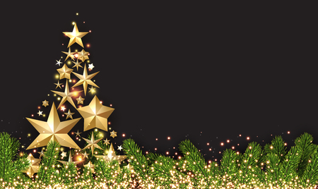 Illustration for New Year shining background with golden abstract Christmas tree. Vector illustration. - Royalty Free Image