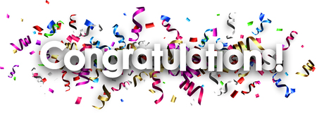Illustration pour White congratulations banner with colorful paper serpentine. Vector illustration. - image libre de droit